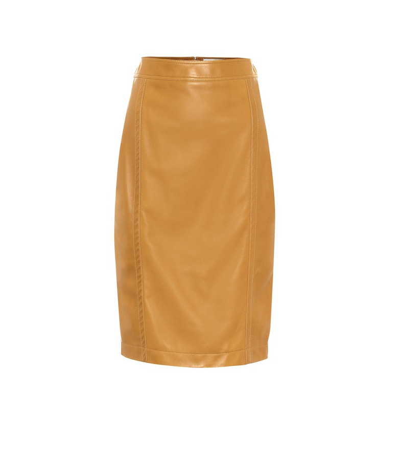 Saint Laurent Leather pencil skirt in brown