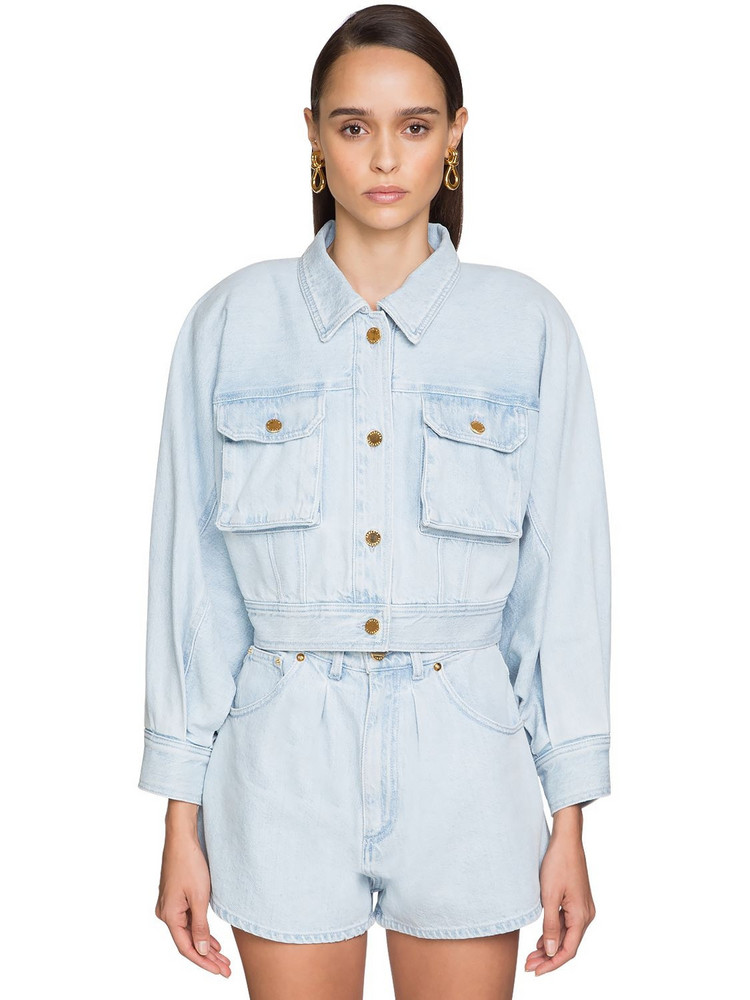ALBERTA FERRETTI Cropped Cotton Denim Jacket in blue
