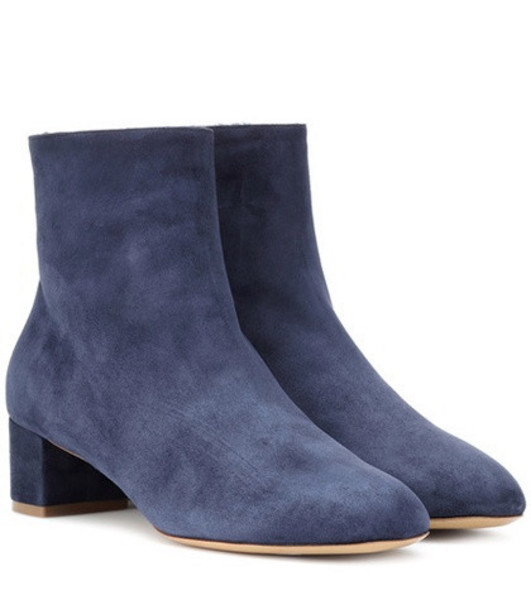 Mansur Gavriel Shearling-lined suede ankle boots in blue
