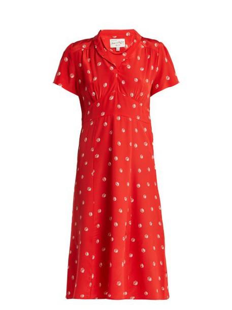 Hvn - Morgan Dice Print Silk Midi Dress - Womens - Red Print