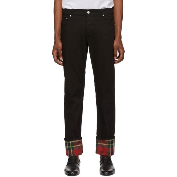 Alexander McQueen Black Bull Denim Check Jeans