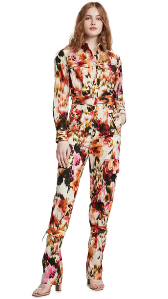 MSGM Patterned Jumpsuit in ecru