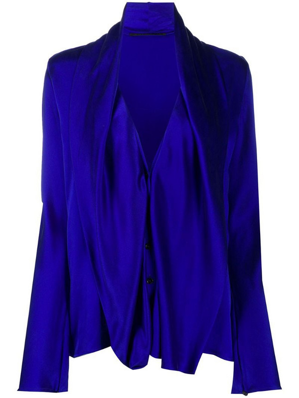 Haider Ackermann draped bib long-sleeved shirt in blue