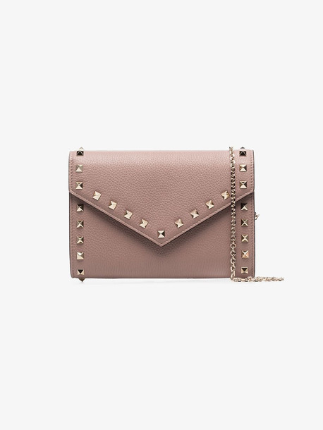 Valentino neutral Garavani Rockstud Envelope leather clutch bag