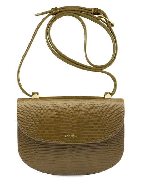 A.P.C. Genéve Croc Embossed Leather Bag in green