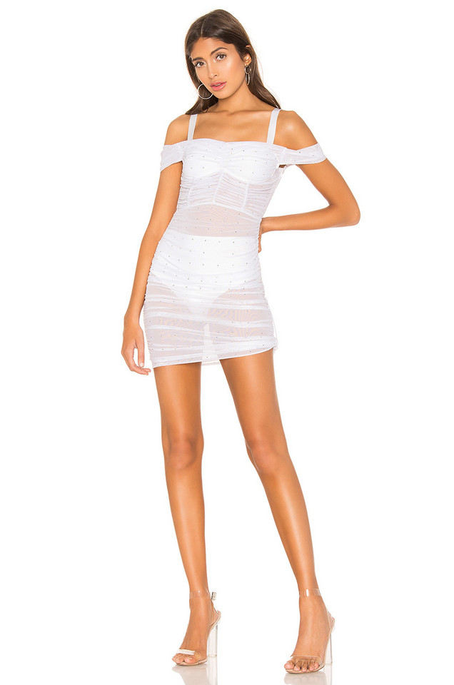 DANIELLE GUIZIO Rhinestone Lynx Dress in white