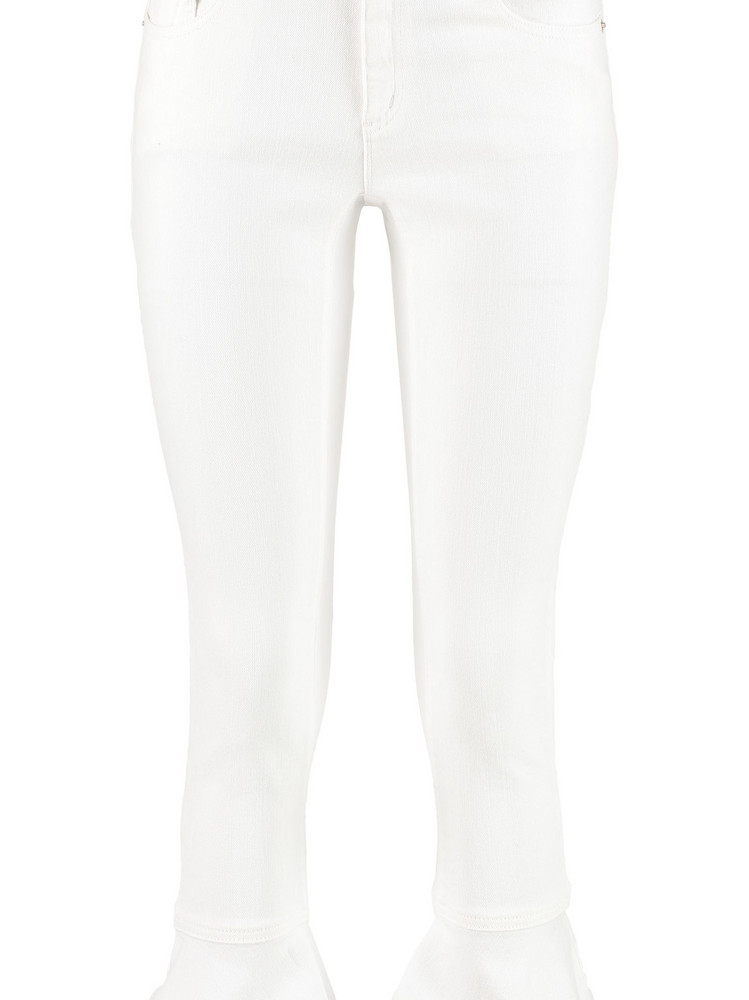 Michael Kors Izzy Flounce Hem Cropped Jeans in white