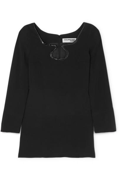 COURREGES - Vinyl-trimmed Crepe Mini Dress - Black