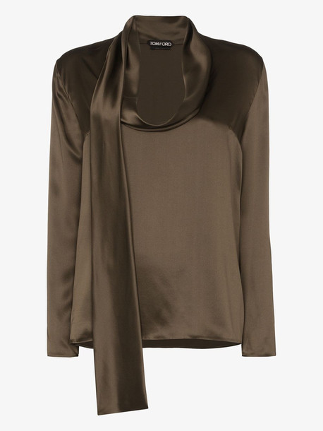 Tom Ford cowl neck silk blouse in green