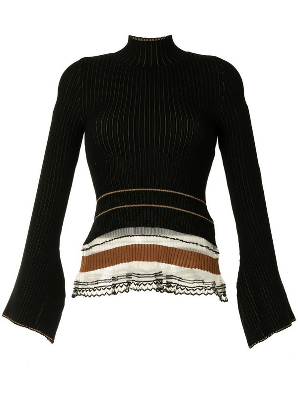 Mame Kurogouchi ribbed high-neck knit top in black
