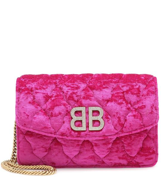 Balenciaga BB Chain velvet shoulder bag in pink