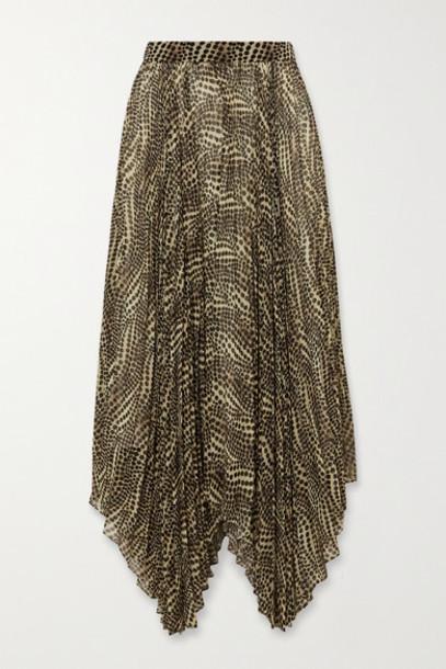 Isabel Marant - Alena Asymmetric Pleated Printed Chiffon Midi Skirt - Ecru