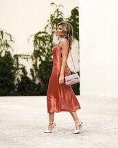 dress,slip dress,midi dress,sandal heels,bag