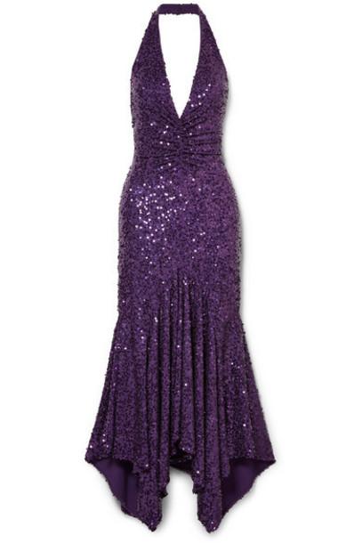 Michael Kors Collection - Asymmetric Sequined Stretch-jersey Halterneck Dress - Purple
