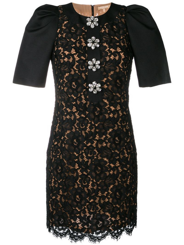 Michael Kors Collection floral lace dress in black