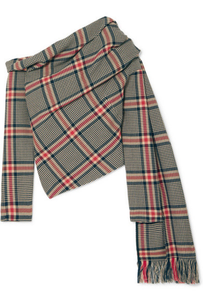 Monse - Off-the-shoulder Draped Checked Cotton And Wool-blend Top - Brown