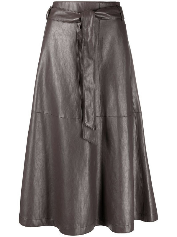 Luisa Cerano leather-effect tie-waist skirt in grey