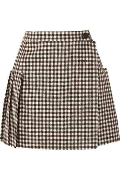 Vivienne Westwood - Frayed Pleated Gingham Wool Wrap Mini Skirt - Black