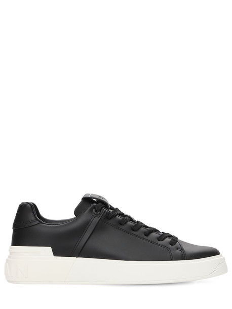 BALMAIN 20mm B Court Classic Leather Sneakers in black / white
