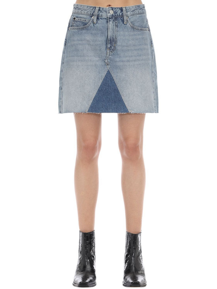 CALVIN KLEIN JEANS Mid-rise Cotton Denim Mini Skirt in blue