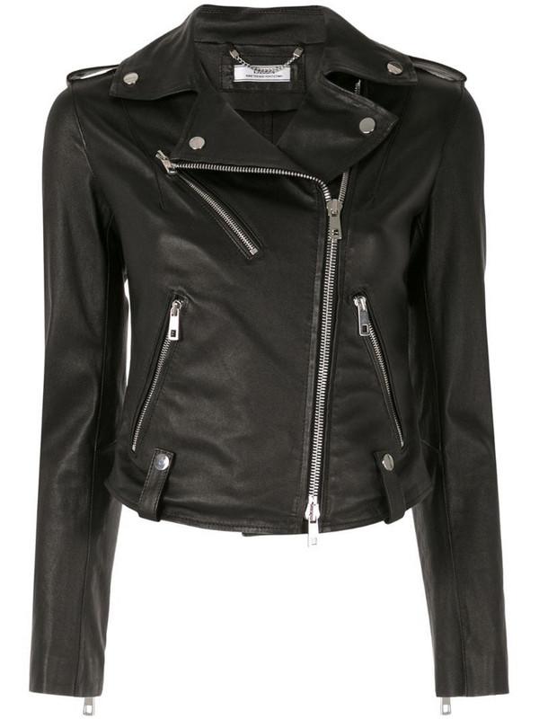 Desa 1972 fitted biker jacket in black