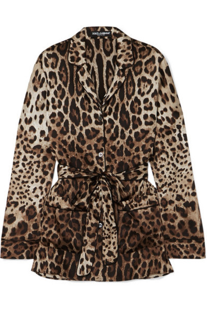 Dolce & Gabbana - Belted Leopard-print Stretch-silk Blouse - Brown