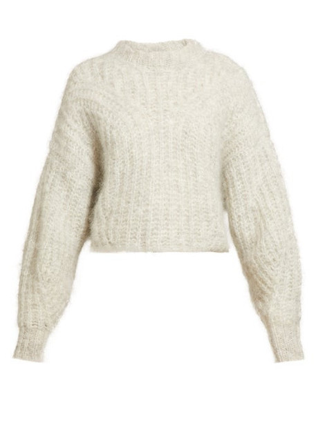 Isabel Marant - Inko Knitted Mohair Sweater - Womens - Light Grey