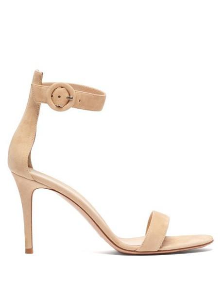 Gianvito Rossi - Portofino 85 Suede Sandals - Womens - Nude
