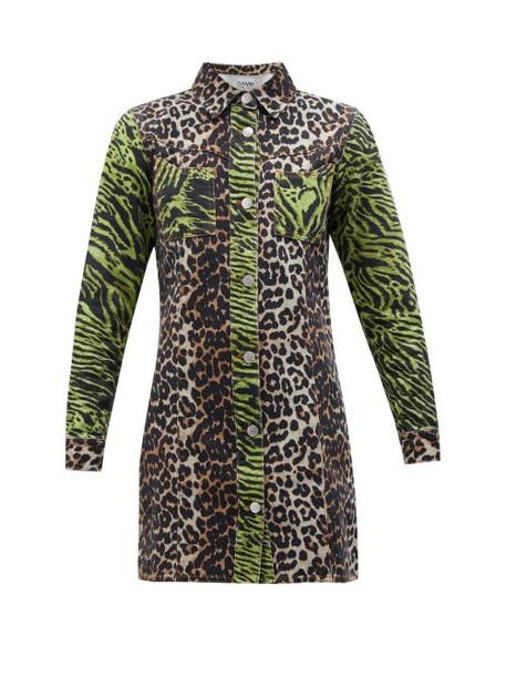 Ganni - Leopard And Zebra Print Cotton Denim Shirtdress - Womens - Brown Multi