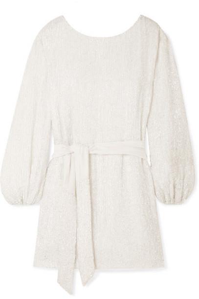 Retrofête - Grace Velvet-trimmed Sequined Chiffon Mini Dress - White