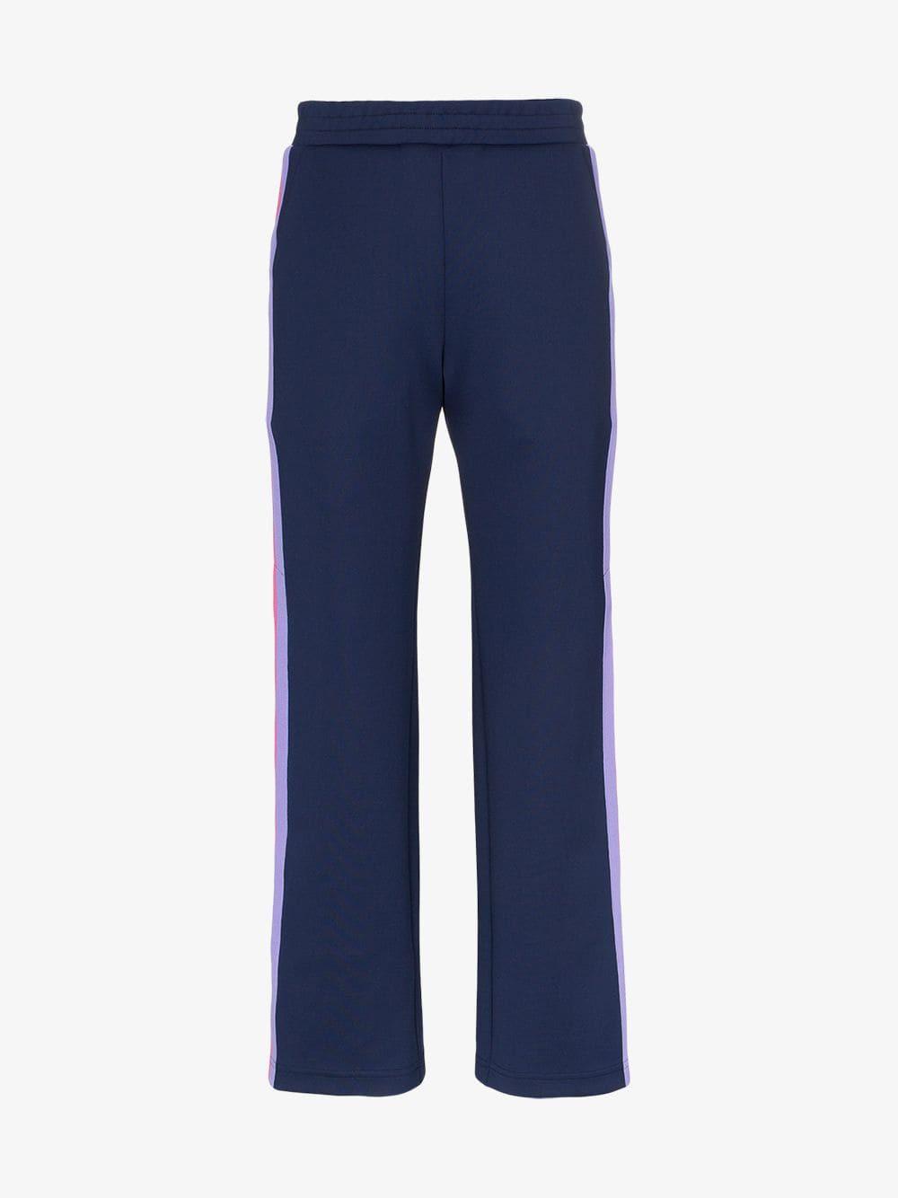 Mira Mikati striped popper button trousers in blue