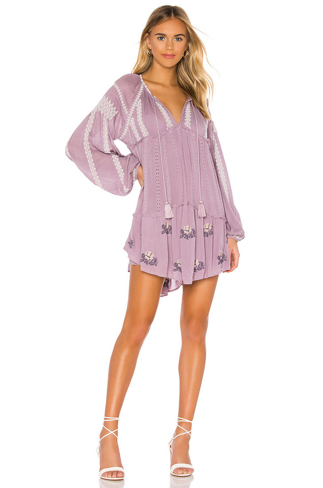 Free People Wild Horses Embroidered Mini Dress in purple
