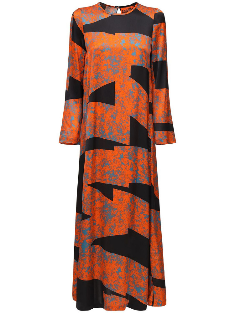 COLVILLE Printed Satin Long Dress