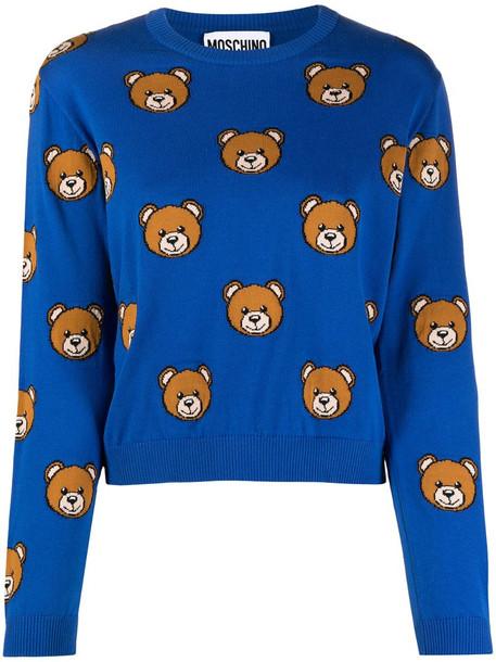 Moschino bear-motif jumper in blue