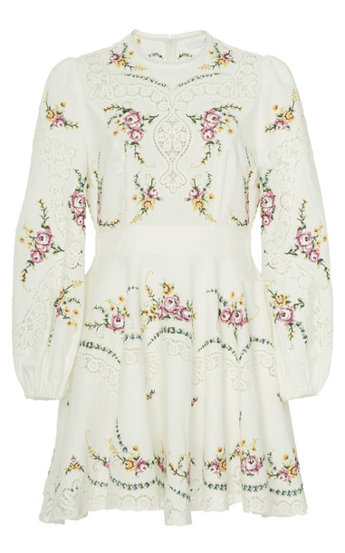 Zimmermann Allia Cross-Stitched Linen-Blend Mini Dress in white