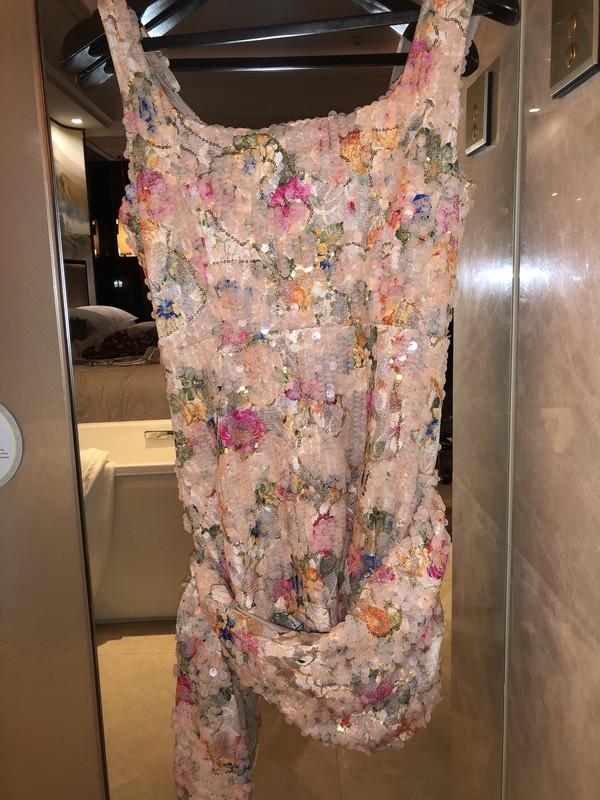 dress sequins floral sequinced pink short drape sleeveless cocktail