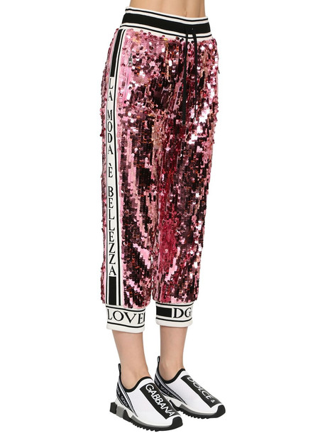 DOLCE & GABBANA Sequined Sweatpants W/ Knit Side Bands in pink