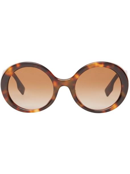 Burberry oversized-frame logo sunglasses in brown