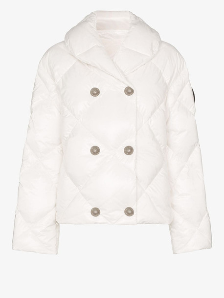 Balmain Double-breasted quilted padding jacket in white