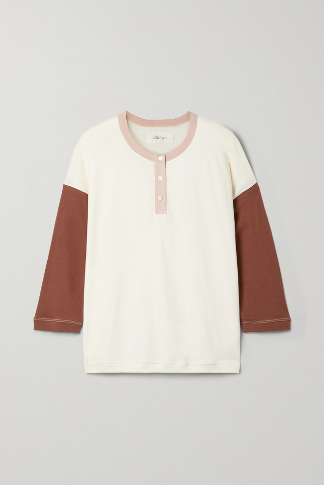 THE GREAT. THE GREAT. - The Shrunken Henley Color-block Cotton-jersey Top - Off-white
