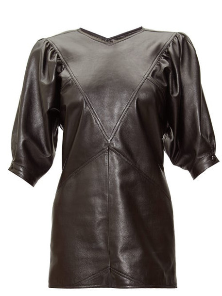 Isabel Marant - Xadela Leather Mini Dress - Womens - Black