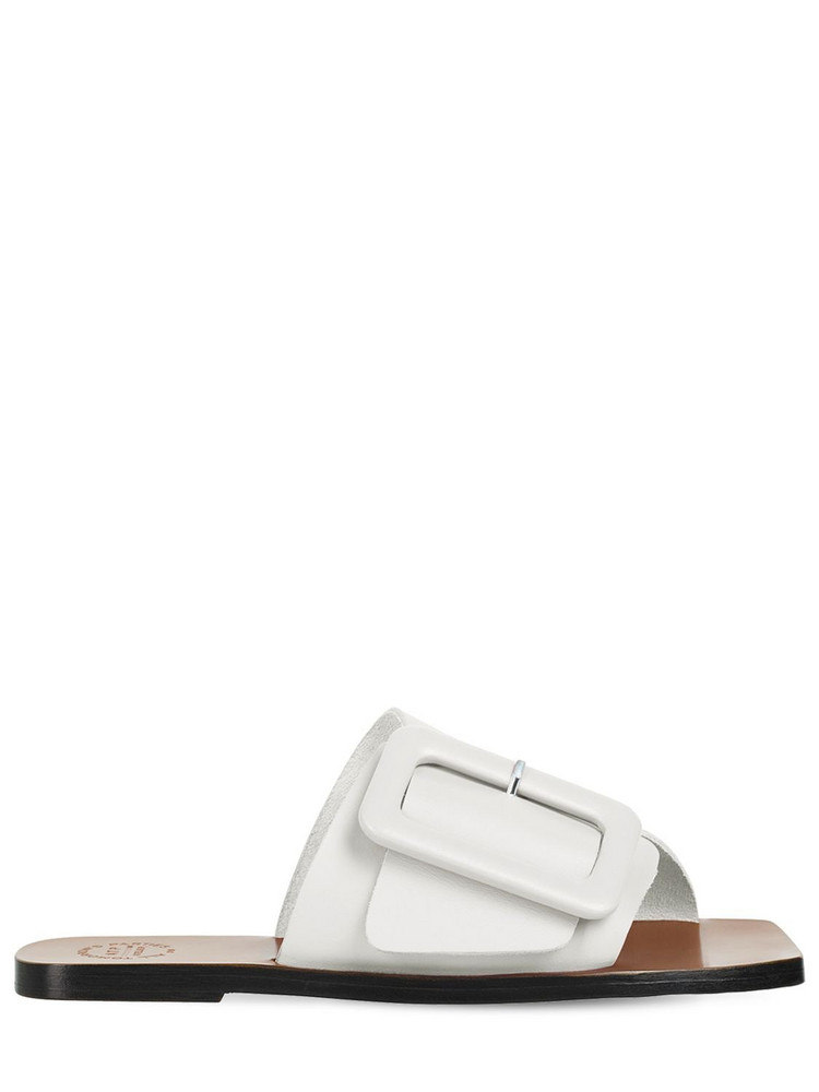 ATP ATELIER 10mm Ceci Leather Slide Flats in white