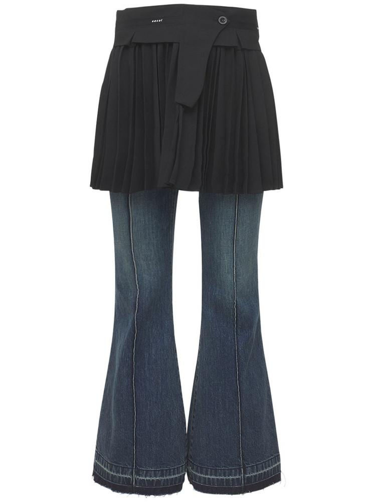 SACAI Denim Jeans W/ Wool Skirt Panel in black / blue