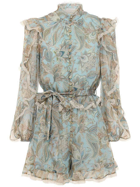 ZIMMERMANN Ladybeetle Ruffled Silk Chiffon Playsuit in multi