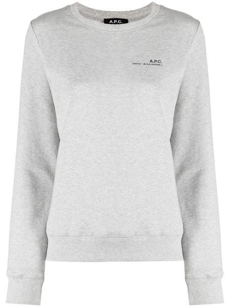 A.P.C. logo print sweatshirt in grey