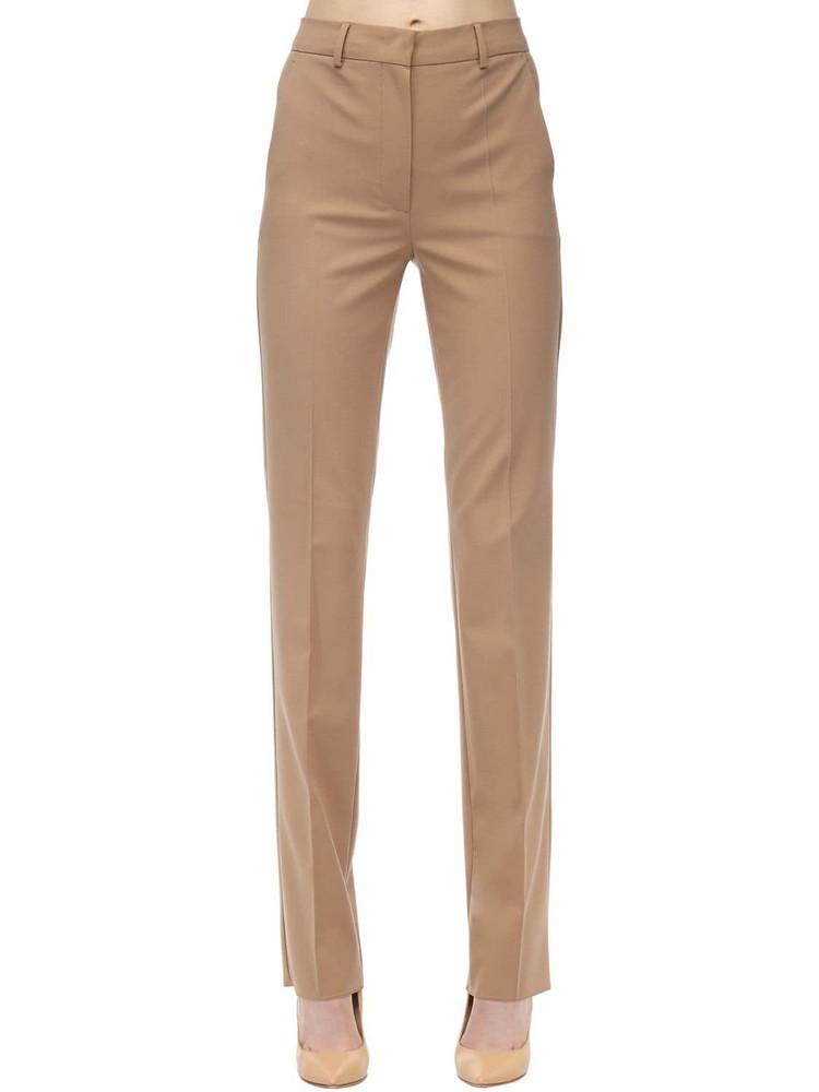 SPORTMAX Straight Leg Virgin Wool Blend Pants in beige