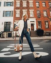 jacket,white blazer,white boots,platform lace up boots,brown bag,straight jeans,high waisted jeans,black shirt,striped shirt,ralph lauren