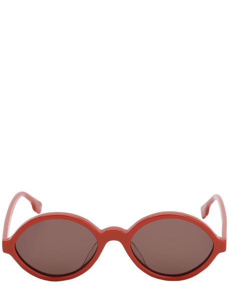LE SPECS Impromtus Round Acetate Sunglasses in orange