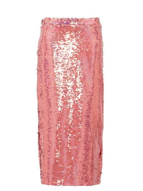 Raey - Sequinned Midi Pencil Skirt - Womens - Pink