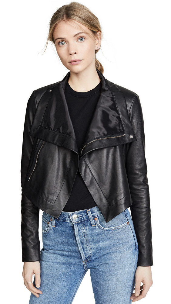 VEDA Maximus Smooth Leather Jacket in black